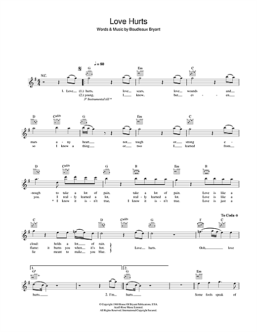 Nazareth Love Hurts sheet music notes and chords