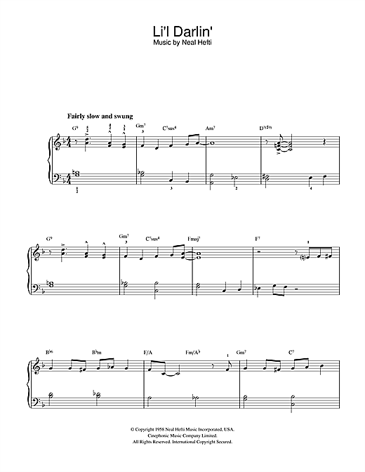 Download Neal Hefti 'Li'l Darlin'' Digital Sheet Music Notes & Chords and start playing in minutes