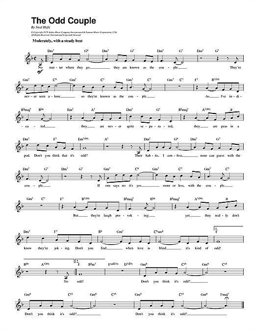 Download Neal Hefti 'Theme from The Odd Couple' Digital Sheet Music Notes & Chords and start playing in minutes