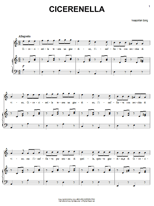 Neapolitan Song Cicerenella sheet music preview music notes and score for Guitar Tab including 3 page(s)