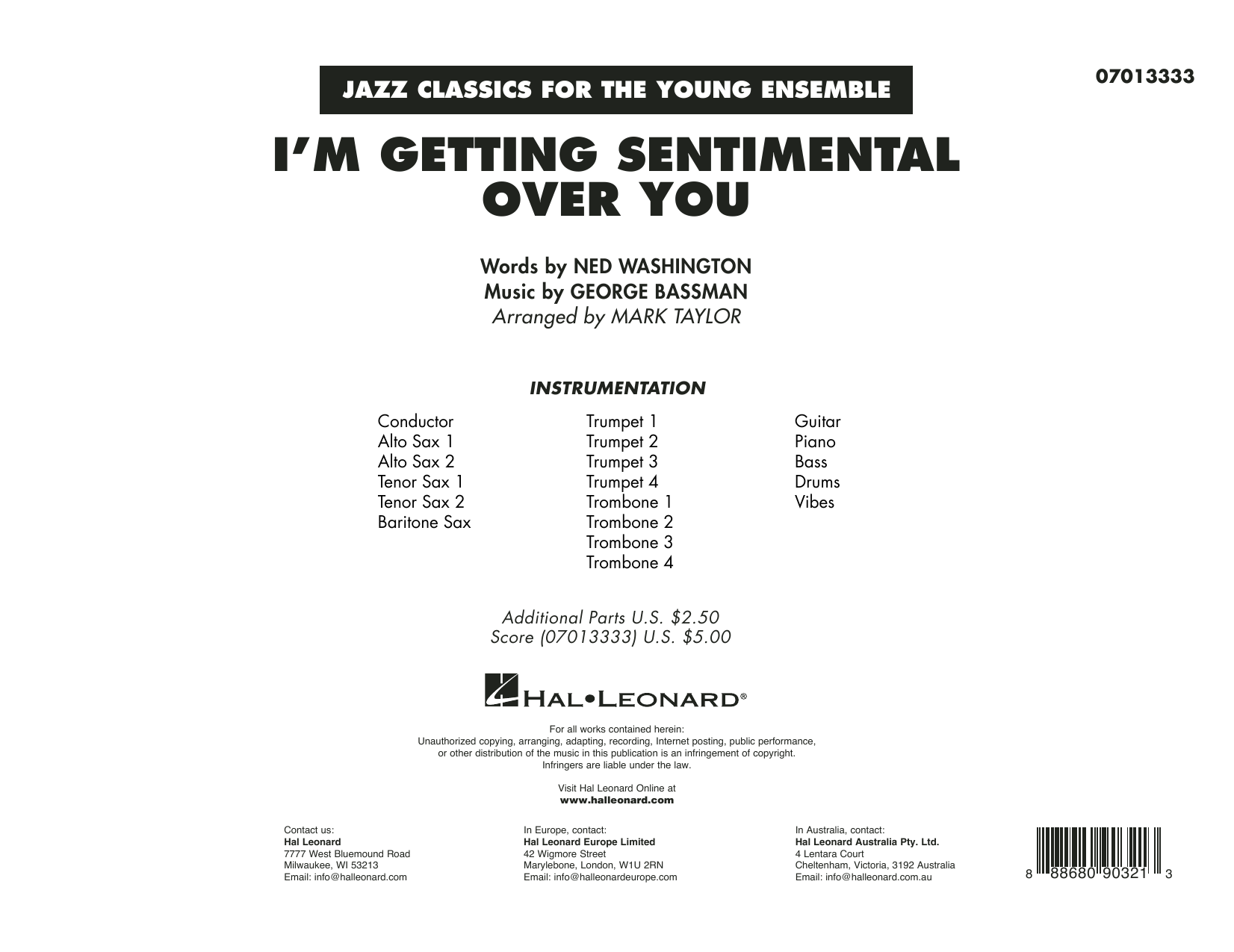 Ned Washington I'm Getting Sentimental Over You (arr. Mark Taylor) - Conductor Score (Full Score) sheet music preview music notes and score for Jazz Ensemble including 11 page(s)