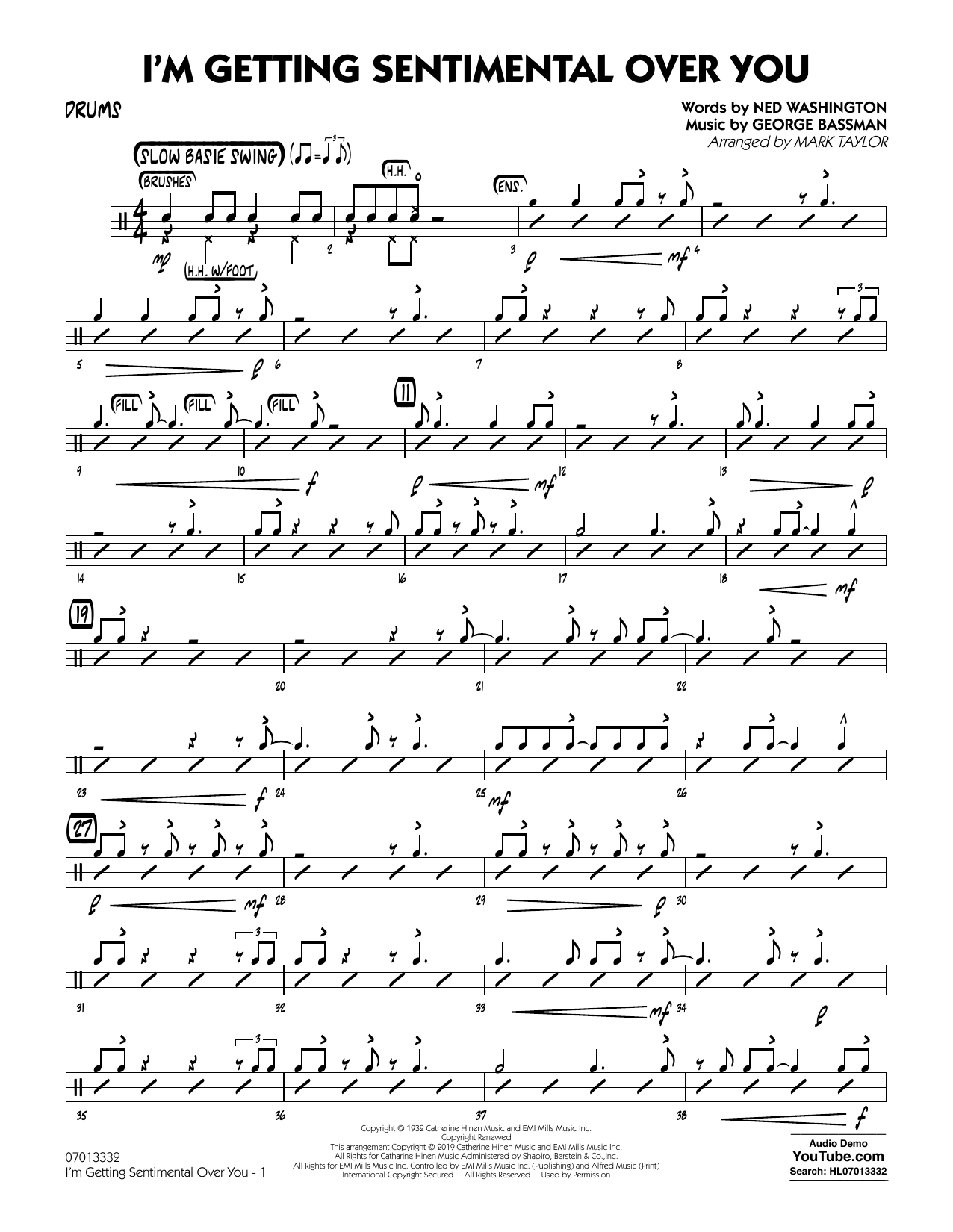 Ned Washington I'm Getting Sentimental Over You (arr. Mark Taylor) - Drums sheet music preview music notes and score for Jazz Ensemble including 2 page(s)