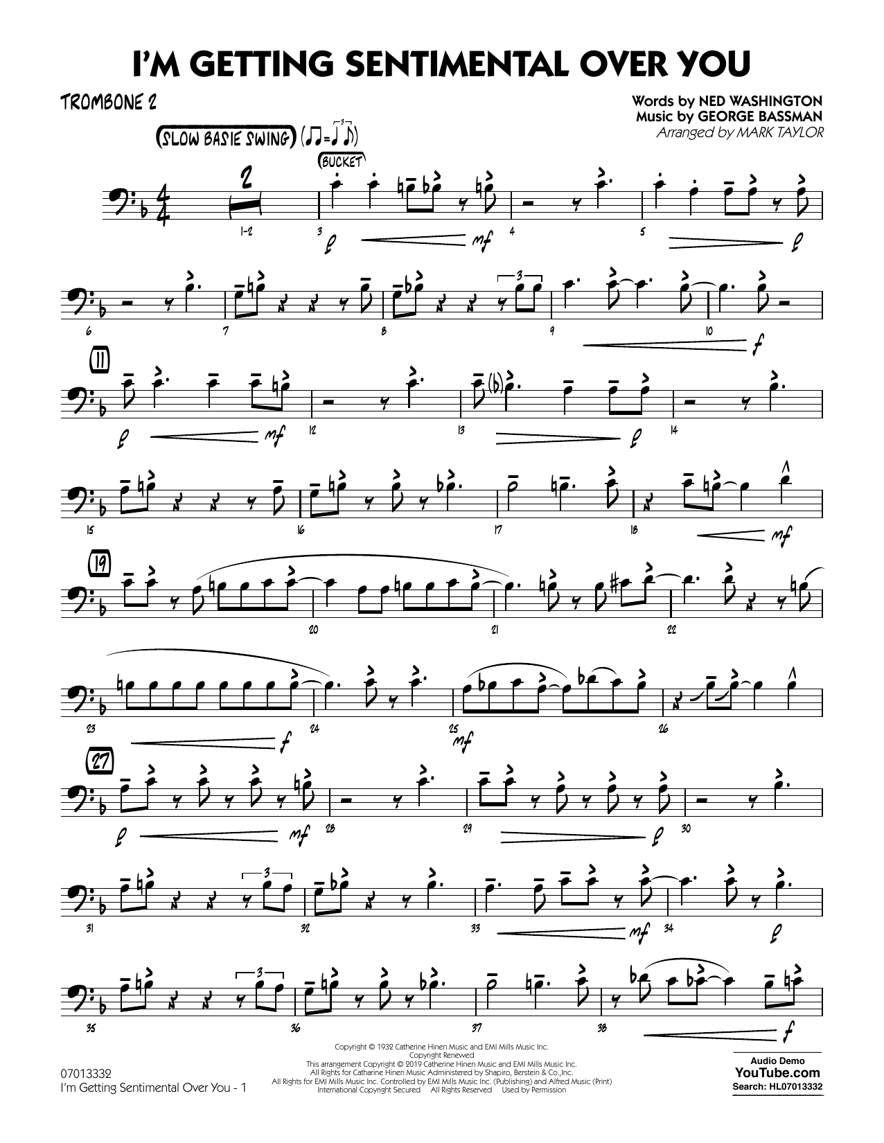 Ned Washington I'm Getting Sentimental Over You (arr. Mark Taylor) - Trombone 2 sheet music preview music notes and score for Jazz Ensemble including 2 page(s)