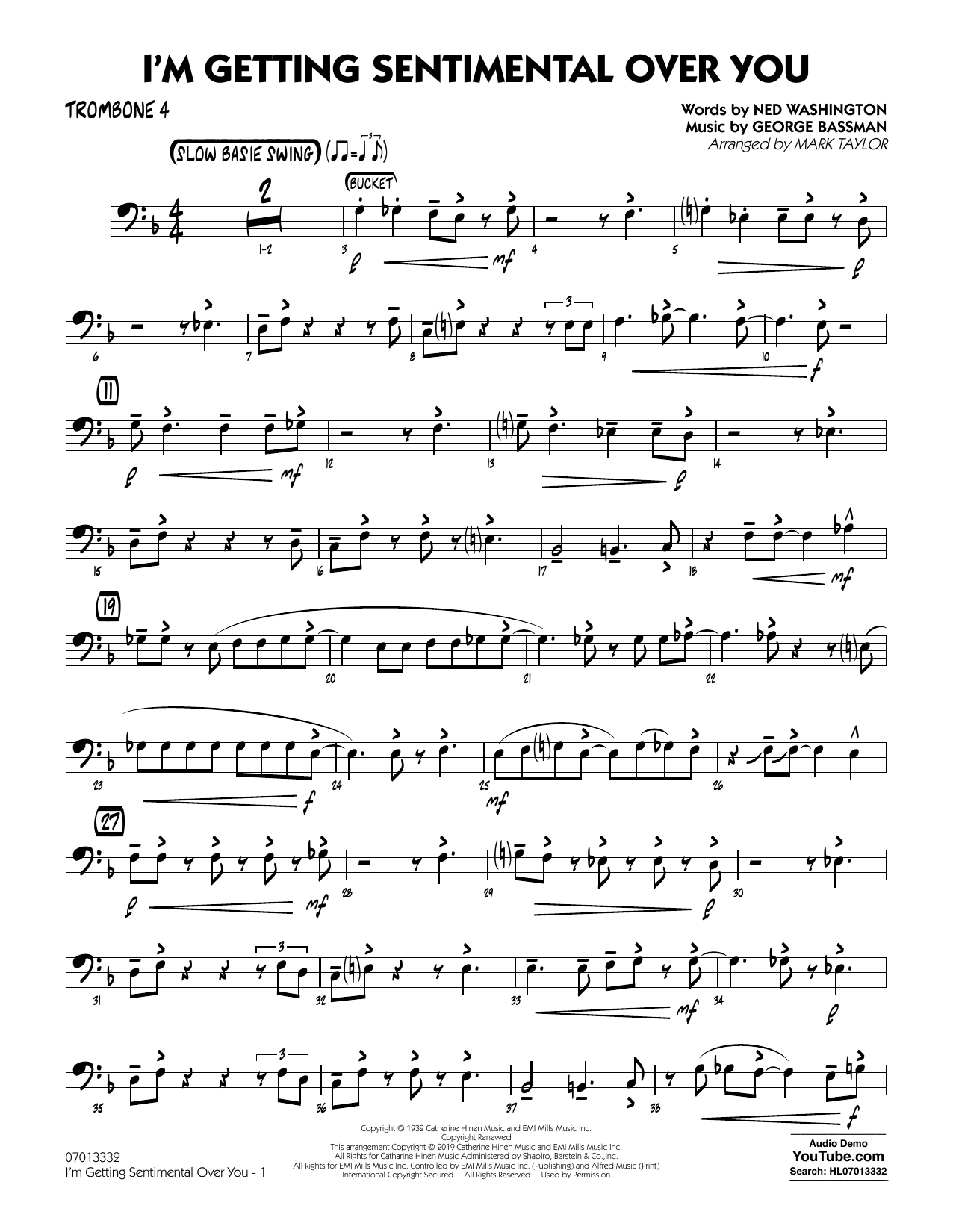 Ned Washington I'm Getting Sentimental Over You (arr. Mark Taylor) - Trombone 4 sheet music preview music notes and score for Jazz Ensemble including 2 page(s)