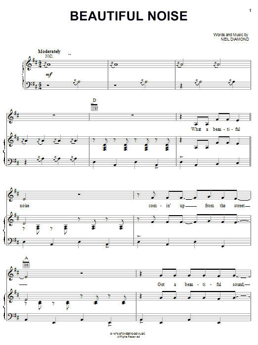 Neil Diamond Beautiful Noise sheet music notes and chords