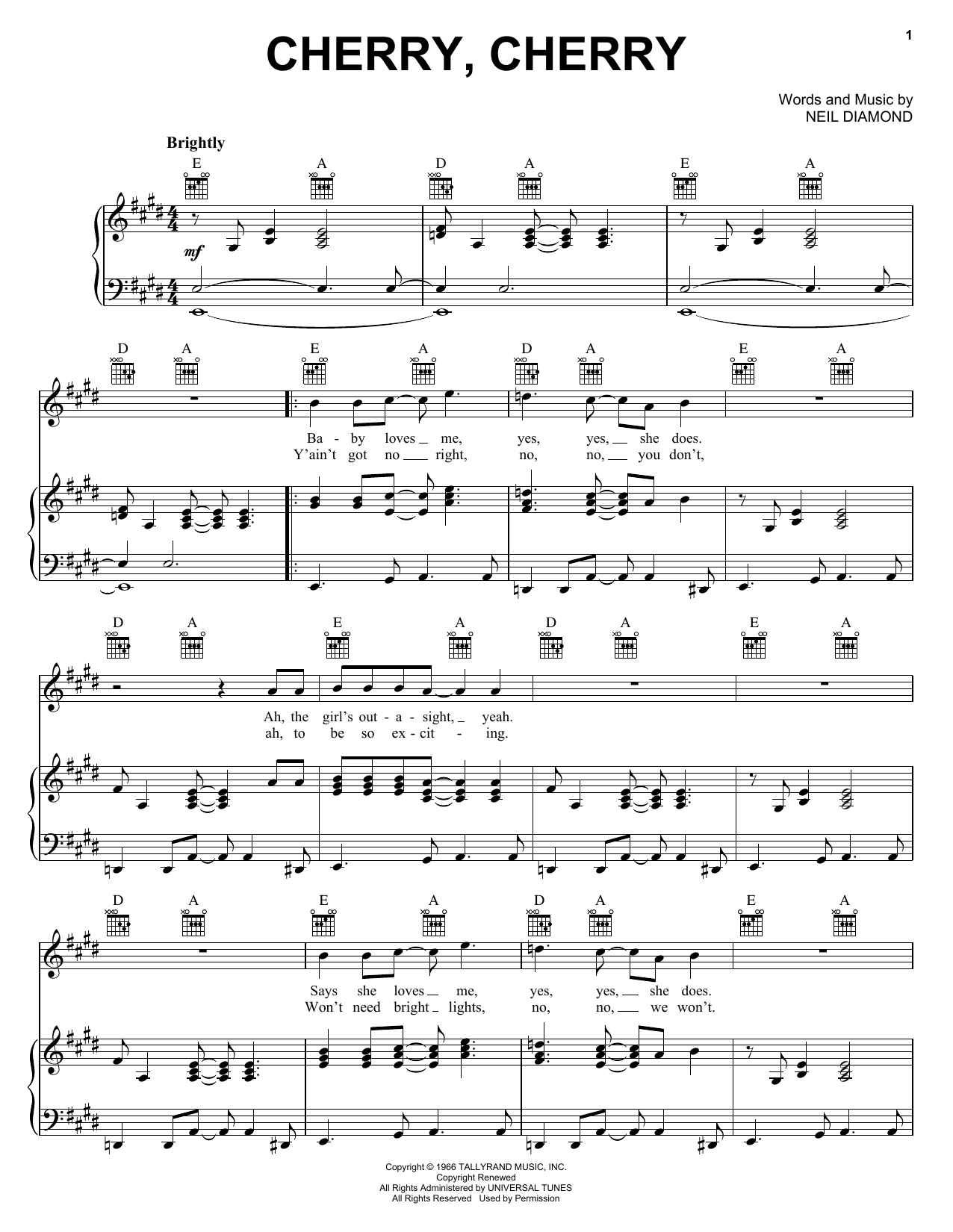 Neil Diamond Cherry, Cherry sheet music preview music notes and score for Piano, Vocal & Guitar (Right-Hand Melody) including 4 page(s)