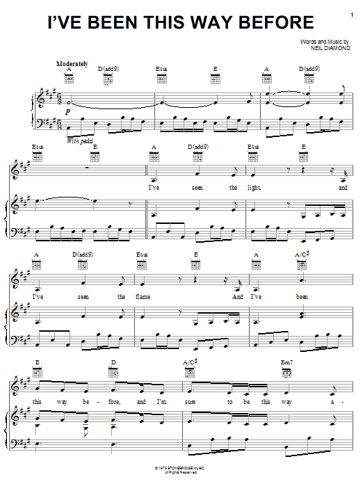 Neil Diamond I've Been This Way Before sheet music preview music notes and score for Piano, Vocal & Guitar (Right-Hand Melody) including 6 page(s)