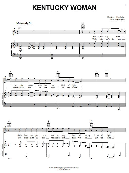 Neil Diamond Kentucky Woman sheet music notes and chords