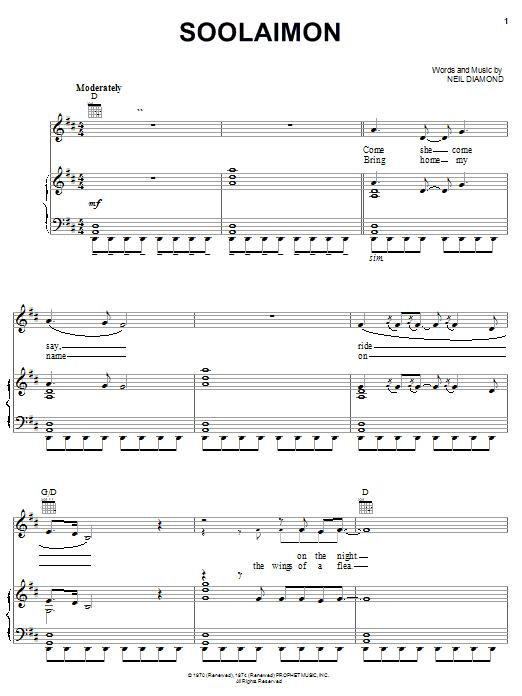 Neil Diamond Soolaimon sheet music notes and chords