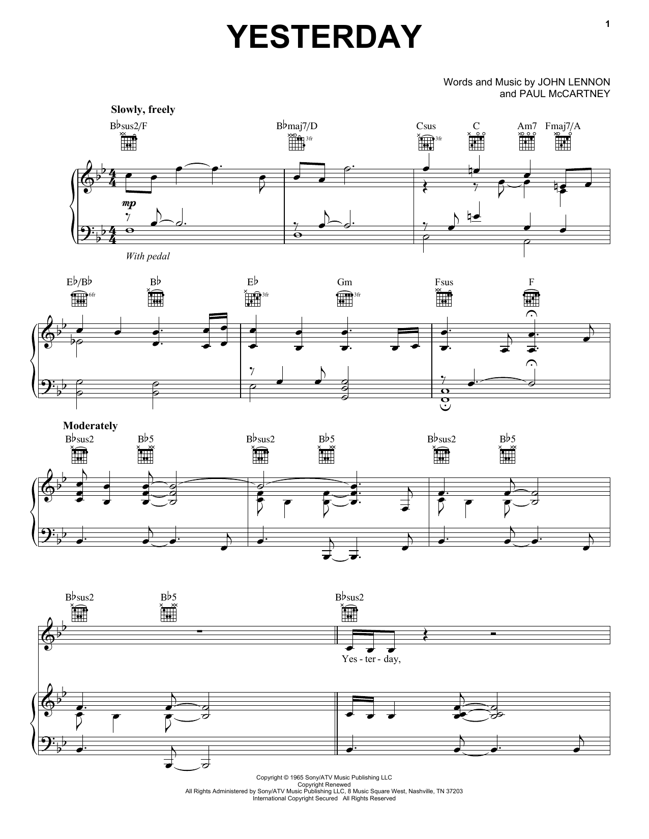 Neil Diamond Yesterday sheet music preview music notes and score for Piano, Vocal & Guitar (Right-Hand Melody) including 7 page(s)