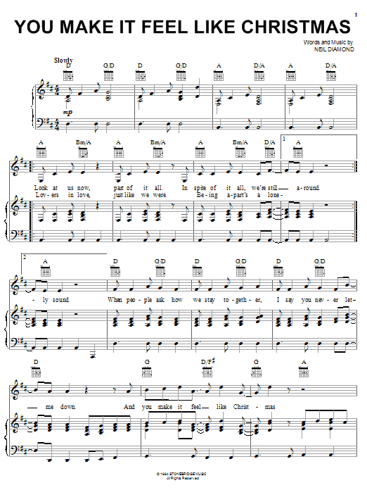 Neil Diamond You Make It Feel Like Christmas sheet music preview music notes and score for Piano, Vocal & Guitar (Right-Hand Melody) including 4 page(s)