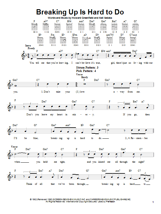 Neil Sedaka Breaking Up Is Hard To Do sheet music preview music notes and score for Easy Guitar including 2 page(s)