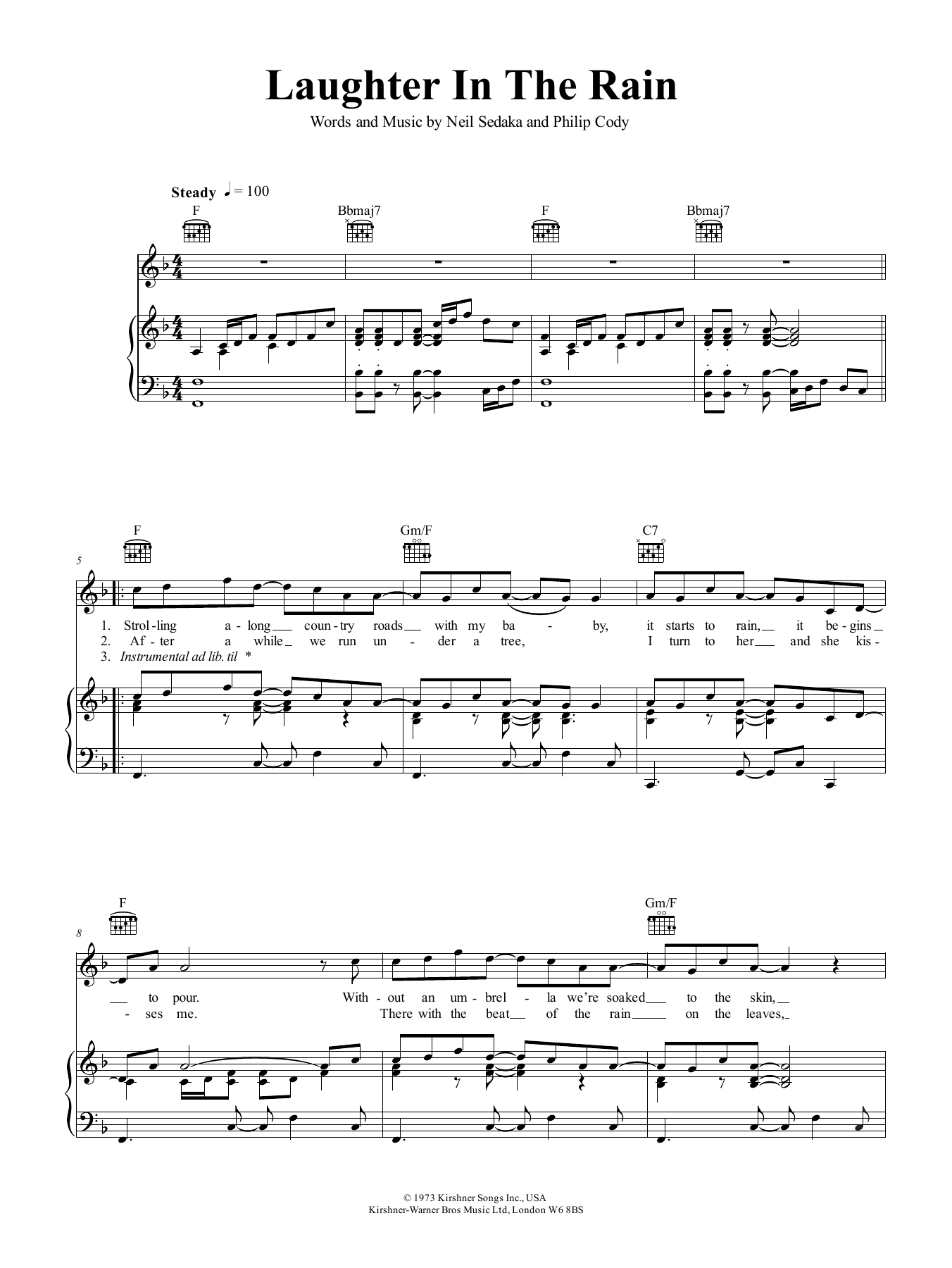 Neil Sedaka Laughter In The Rain sheet music preview music notes and score for Piano, Vocal & Guitar (Right-Hand Melody) including 2 page(s)
