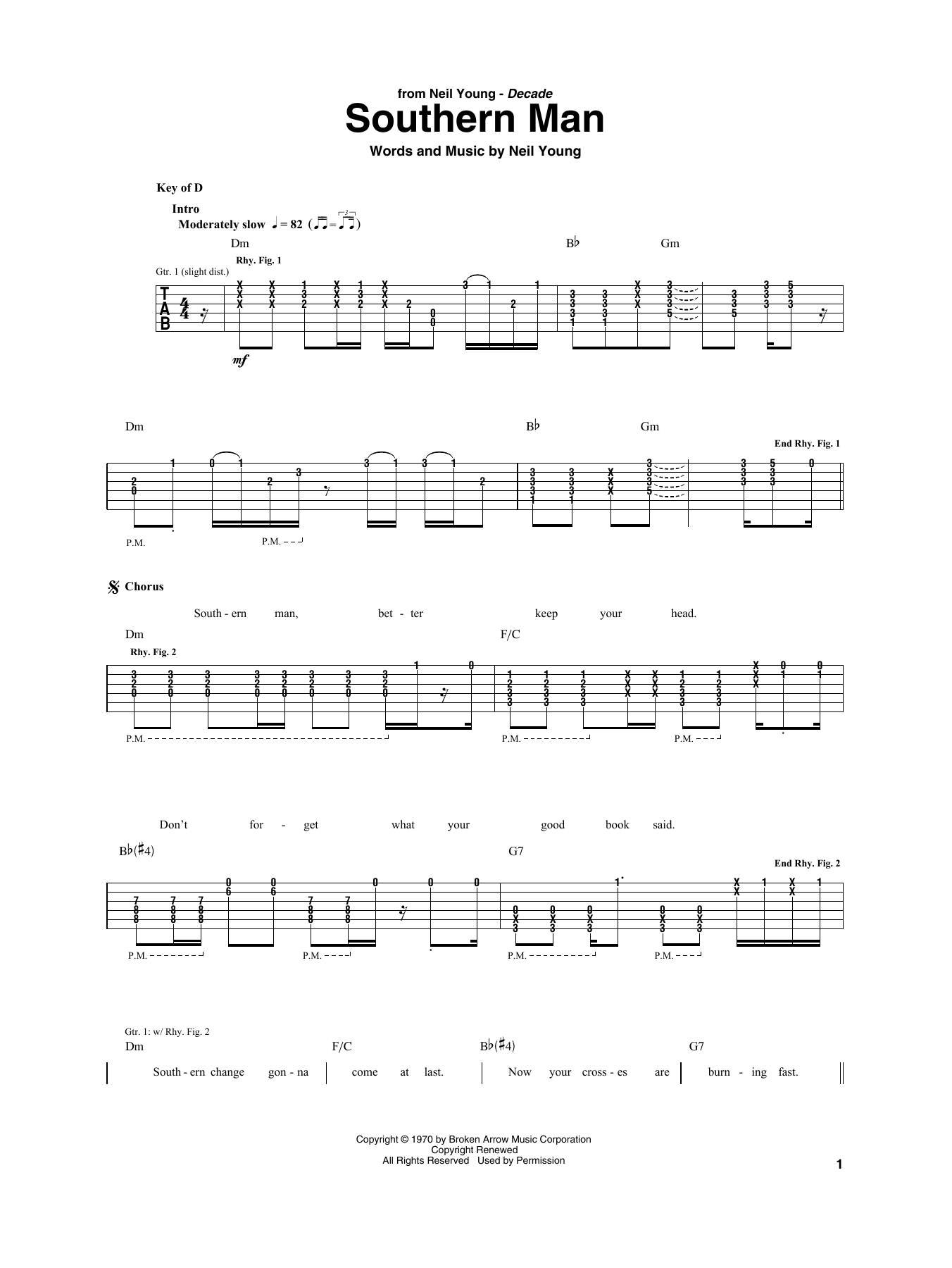 Neil Young Southern Man sheet music notes and chords