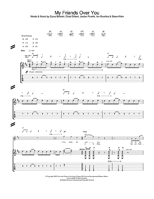 New Found Glory My Friends Over You sheet music notes and chords