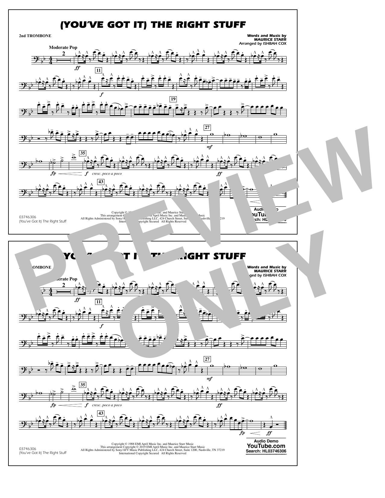 New Kids On The Block (You've Got It) The Right Stuff (arr. Ishbah Cox) - 2nd Trombone sheet music preview music notes and score for Marching Band including 1 page(s)