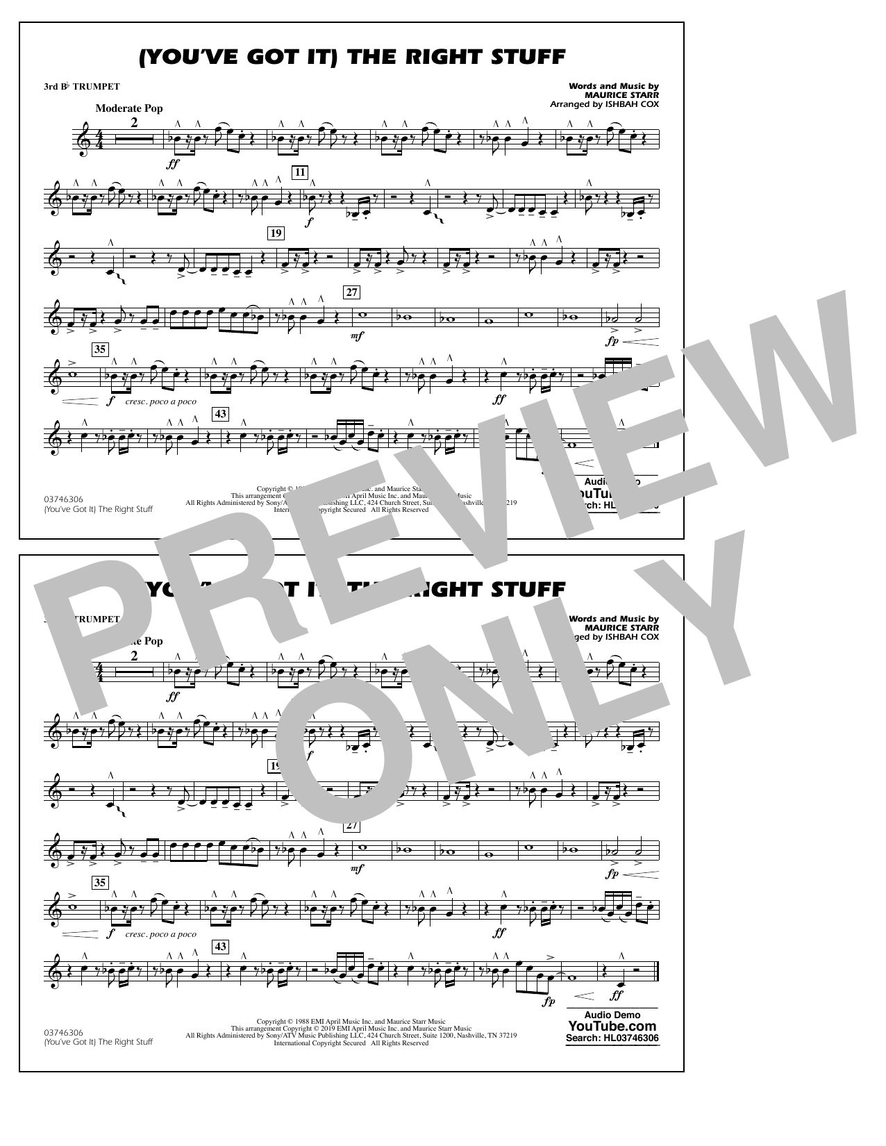 New Kids On The Block (You've Got It) The Right Stuff (arr. Ishbah Cox) - 3rd Bb Trumpet sheet music preview music notes and score for Marching Band including 1 page(s)