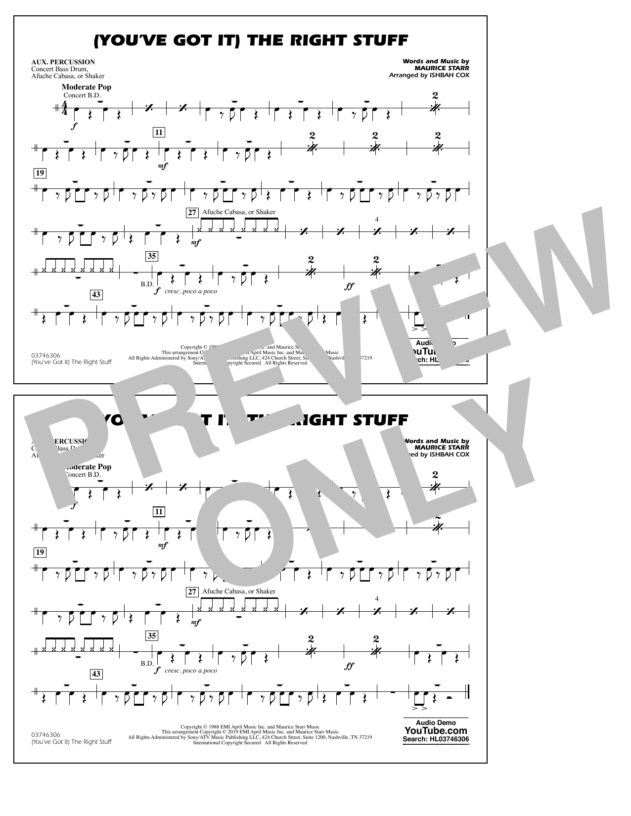 New Kids On The Block (You've Got It) The Right Stuff (arr. Ishbah Cox) - Aux Percussion sheet music preview music notes and score for Marching Band including 1 page(s)