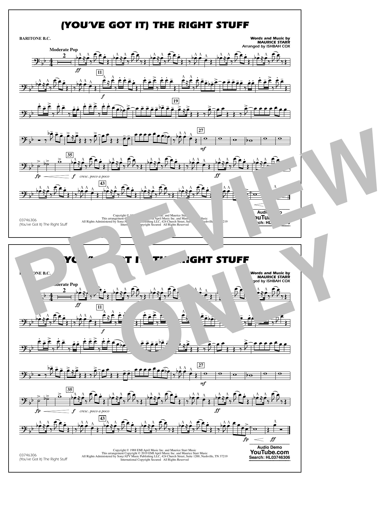 New Kids On The Block (You've Got It) The Right Stuff (arr. Ishbah Cox) - Baritone B.C. sheet music preview music notes and score for Marching Band including 1 page(s)