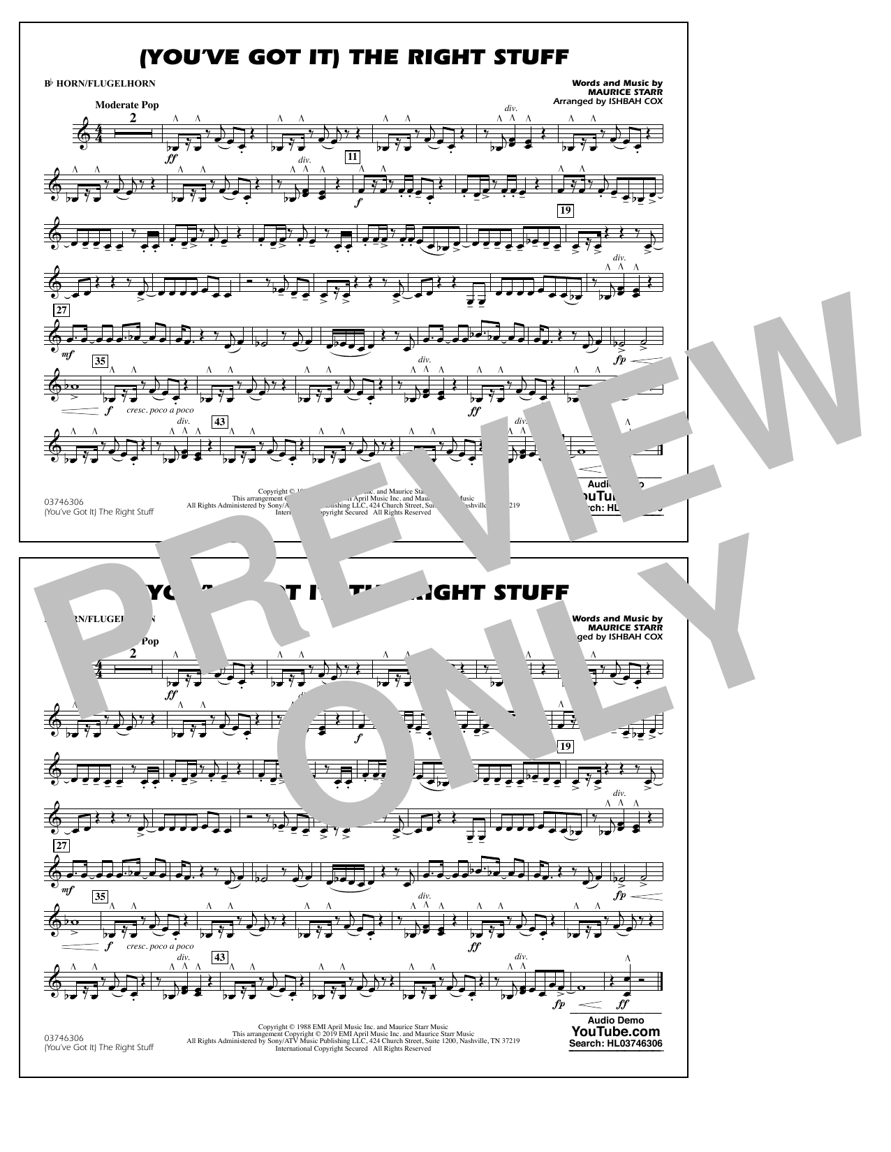 New Kids On The Block (You've Got It) The Right Stuff (arr. Ishbah Cox) - Bb Horn/Flugelhorn sheet music preview music notes and score for Marching Band including 1 page(s)