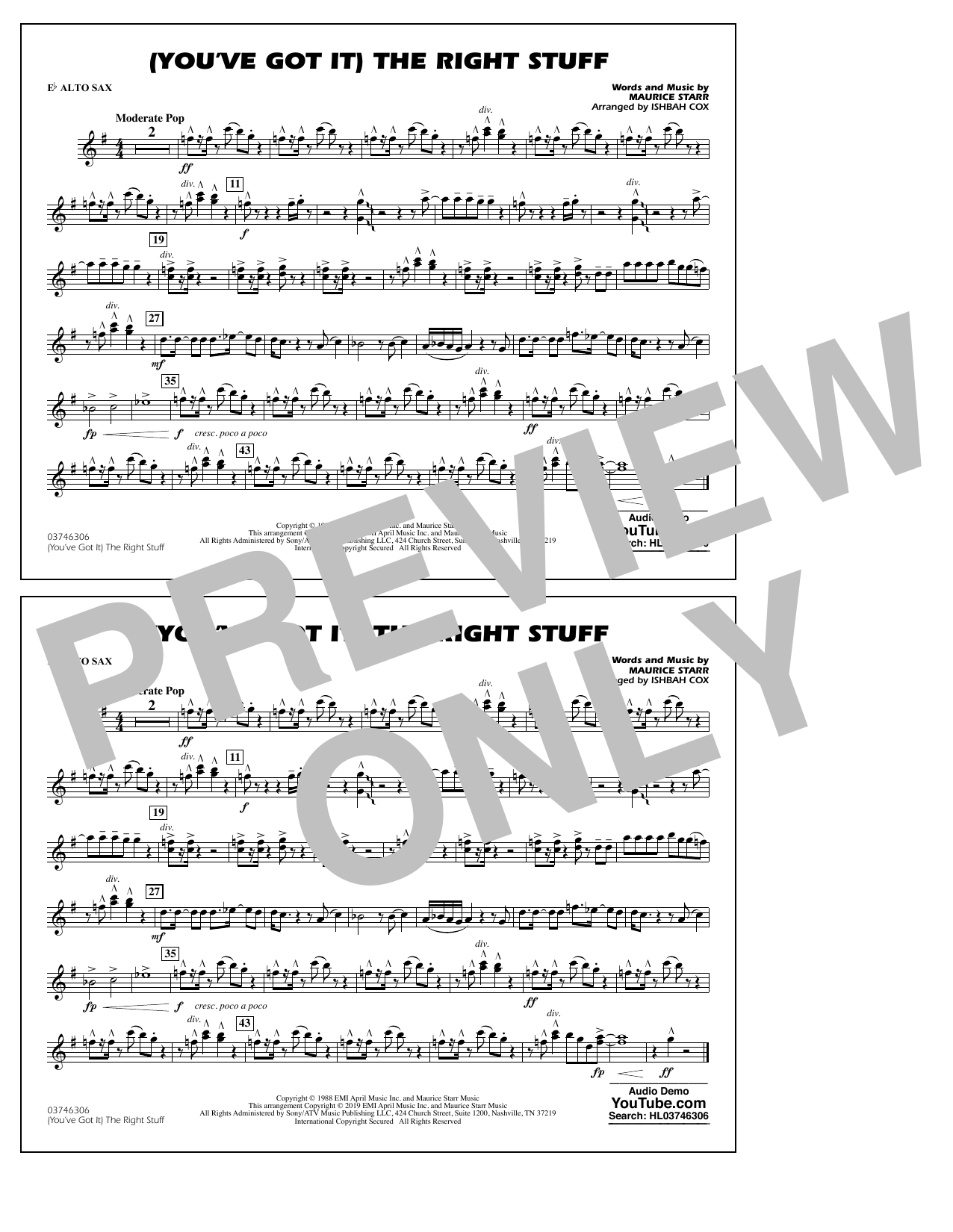 New Kids On The Block (You've Got It) The Right Stuff (arr. Ishbah Cox) - Eb Alto Sax sheet music preview music notes and score for Marching Band including 1 page(s)