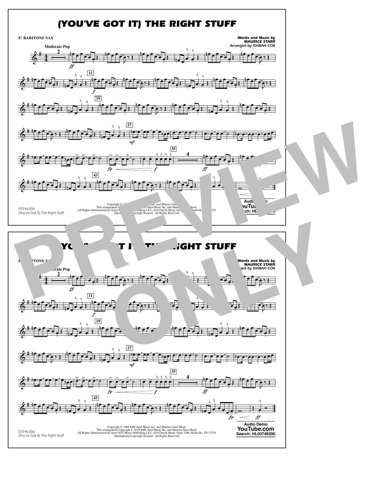 New Kids On The Block (You've Got It) The Right Stuff (arr. Ishbah Cox) - Eb Baritone Sax sheet music preview music notes and score for Marching Band including 1 page(s)