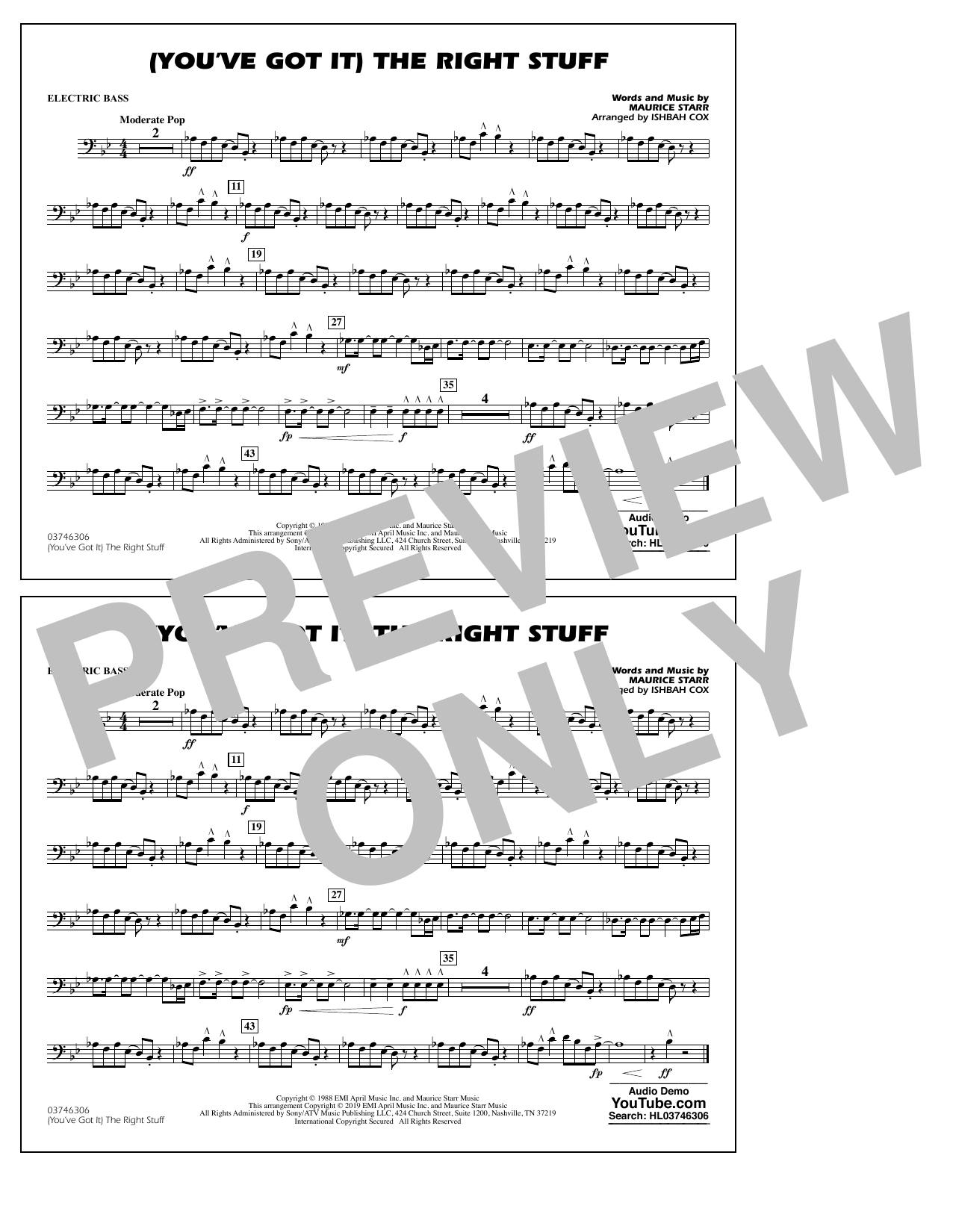 New Kids On The Block (You've Got It) The Right Stuff (arr. Ishbah Cox) - Electric Bass sheet music preview music notes and score for Marching Band including 1 page(s)