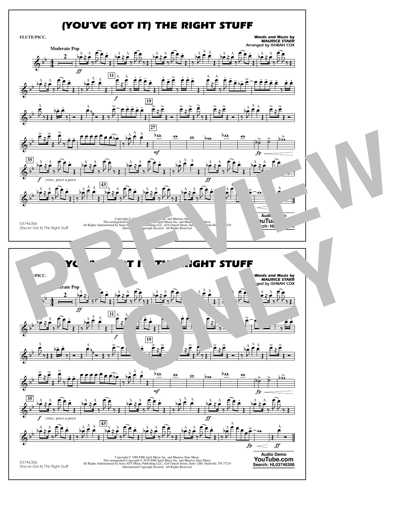 New Kids On The Block (You've Got It) The Right Stuff (arr. Ishbah Cox) - Flute/Piccolo sheet music preview music notes and score for Marching Band including 1 page(s)