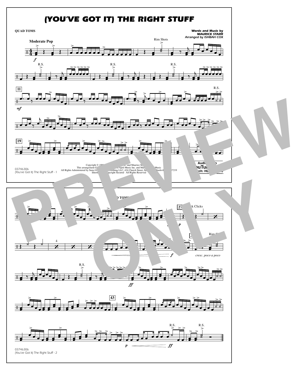 New Kids On The Block (You've Got It) The Right Stuff (arr. Ishbah Cox) - Quad Toms sheet music preview music notes and score for Marching Band including 1 page(s)