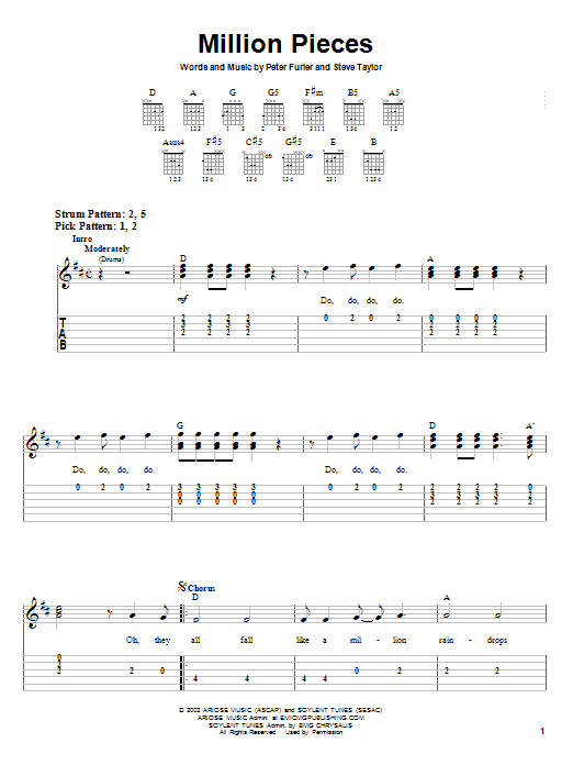 Newsboys Million Pieces sheet music notes and chords