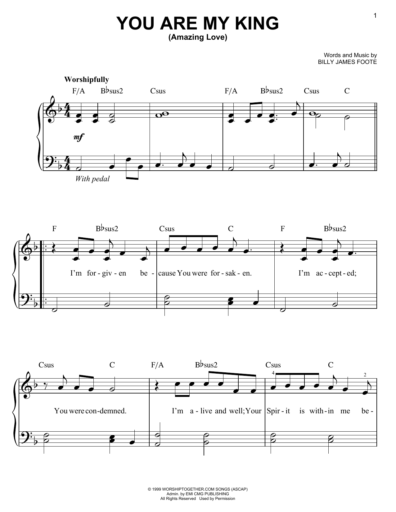 Newsboys You Are My King (Amazing Love) sheet music notes and chords