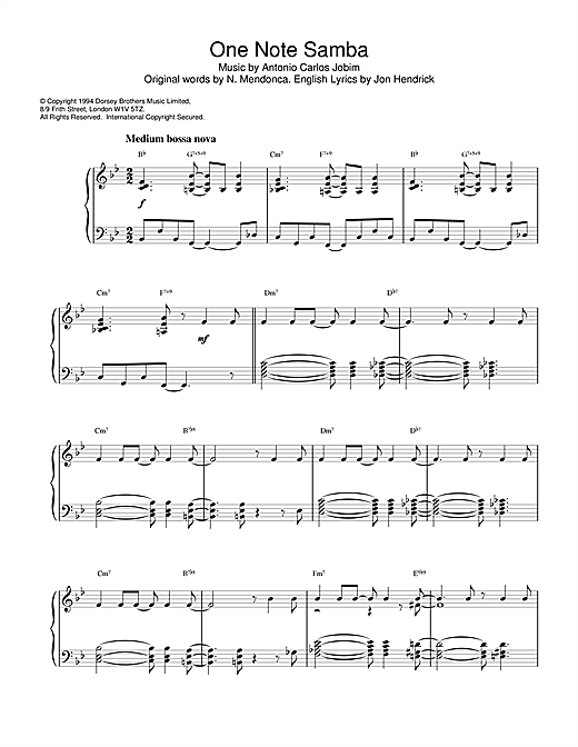 Download Newton Mendonca 'One Note Samba' Digital Sheet Music Notes & Chords and start playing in minutes