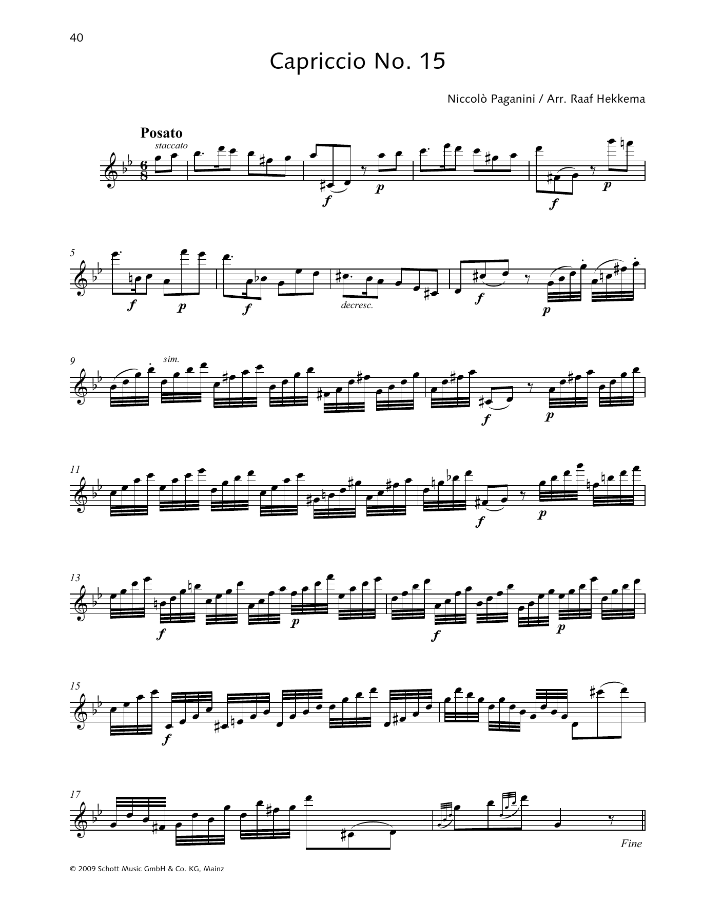Niccolo Paganini Capriccio No. 15 sheet music preview music notes and score for Woodwind Solo including 2 page(s)