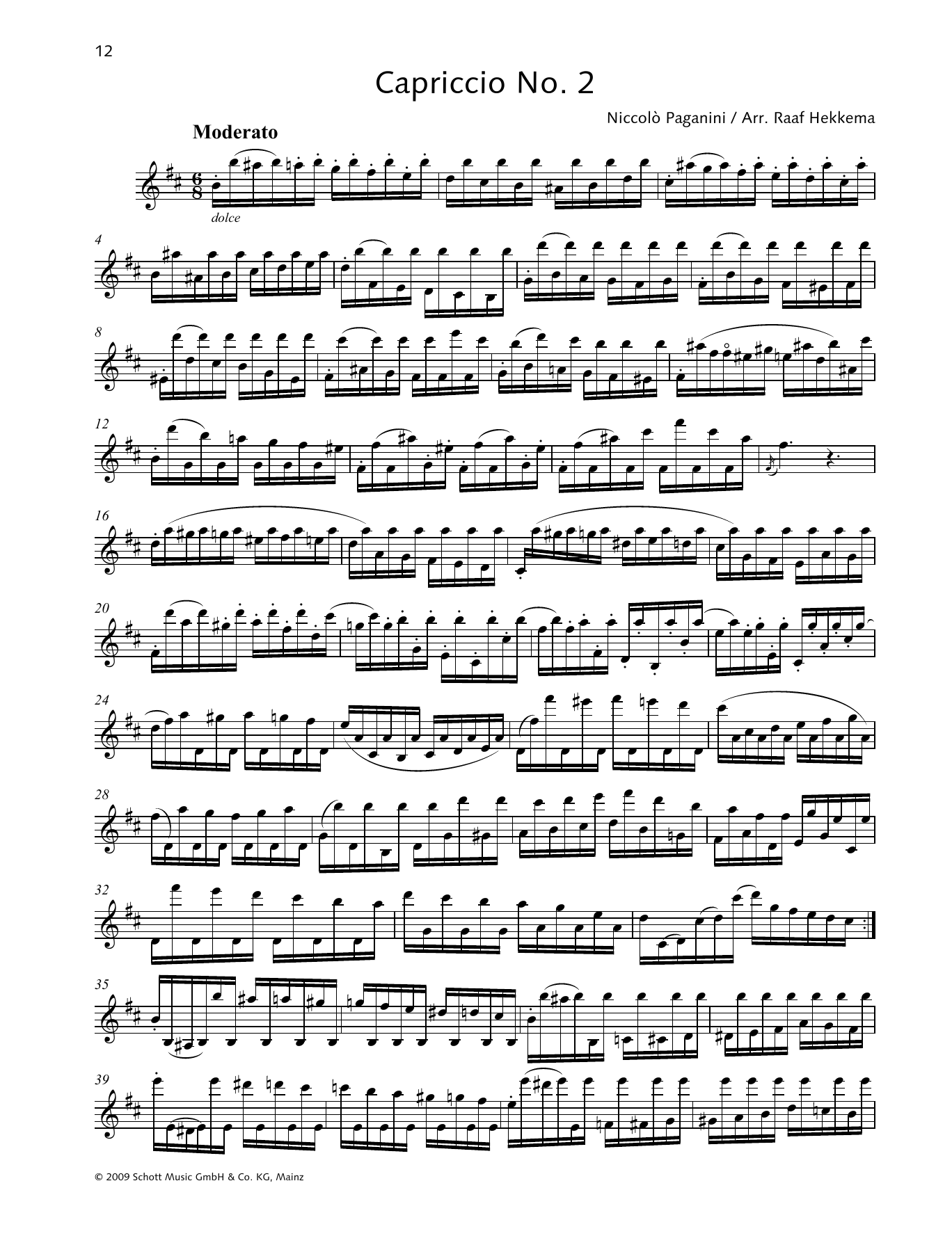 Niccolo Paganini Capriccio No. 2 sheet music preview music notes and score for Woodwind Solo including 2 page(s)