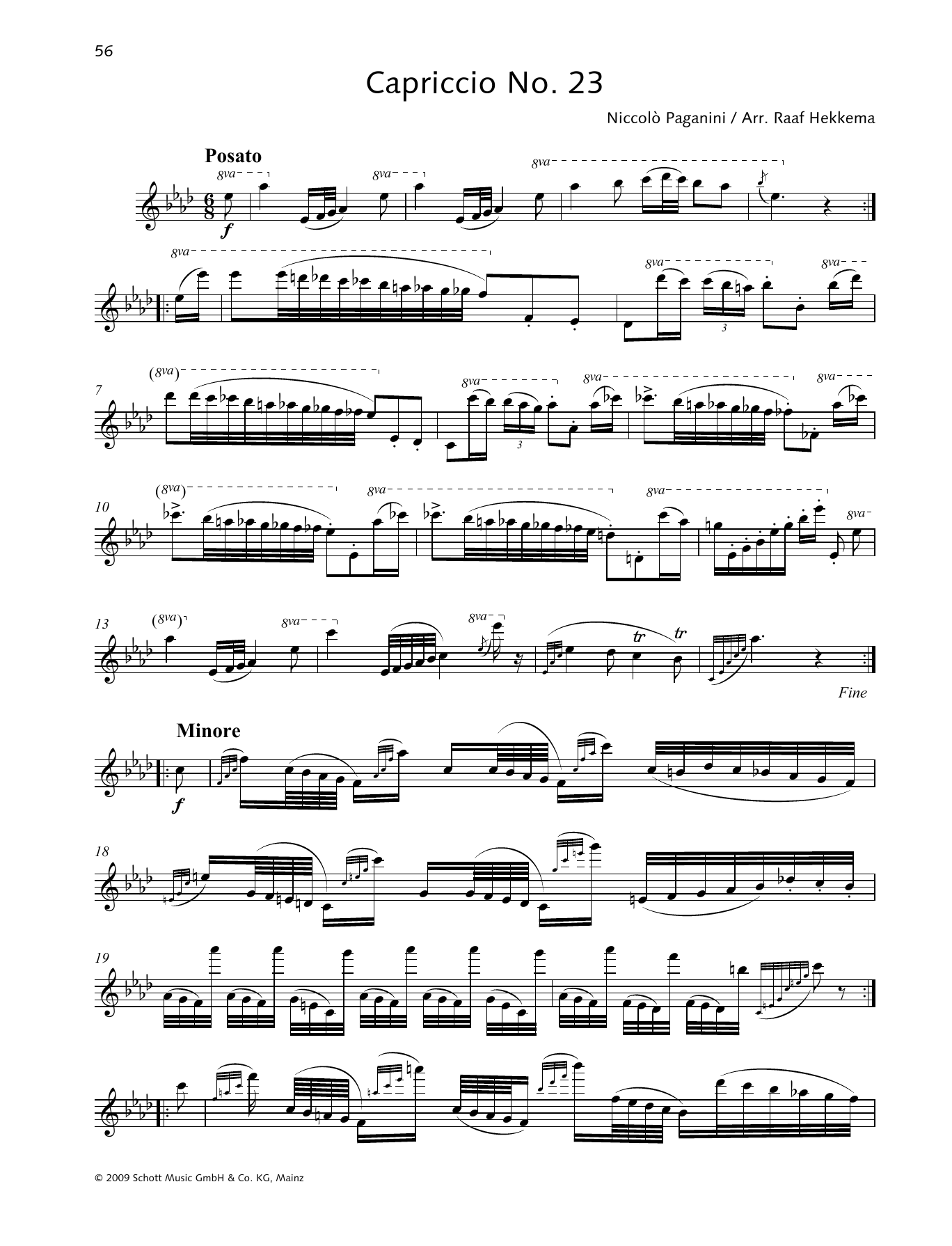 Niccolo Paganini Capriccio No. 23 sheet music preview music notes and score for Woodwind Solo including 2 page(s)