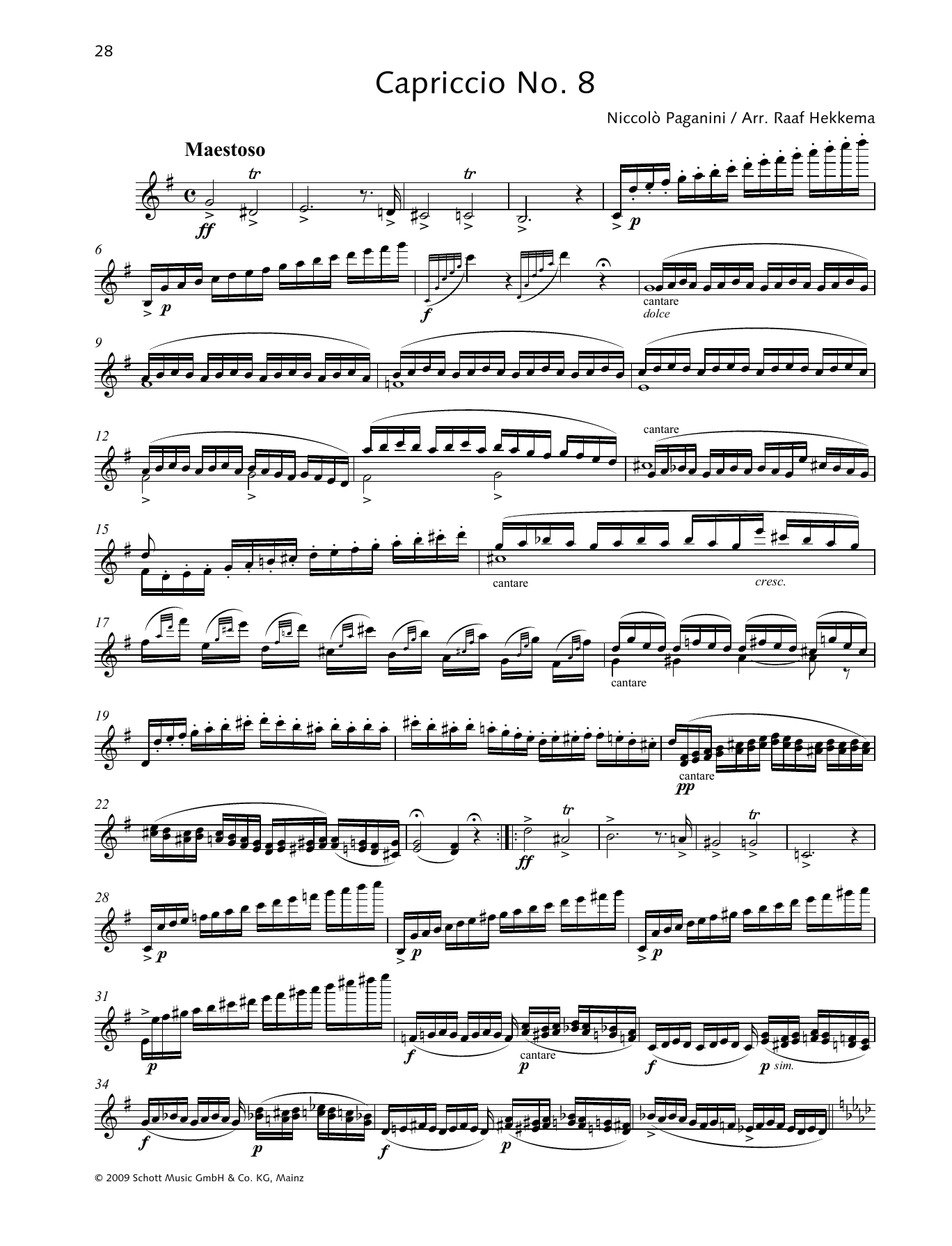 Niccolo Paganini Capriccio No. 8 sheet music preview music notes and score for Woodwind Solo including 2 page(s)
