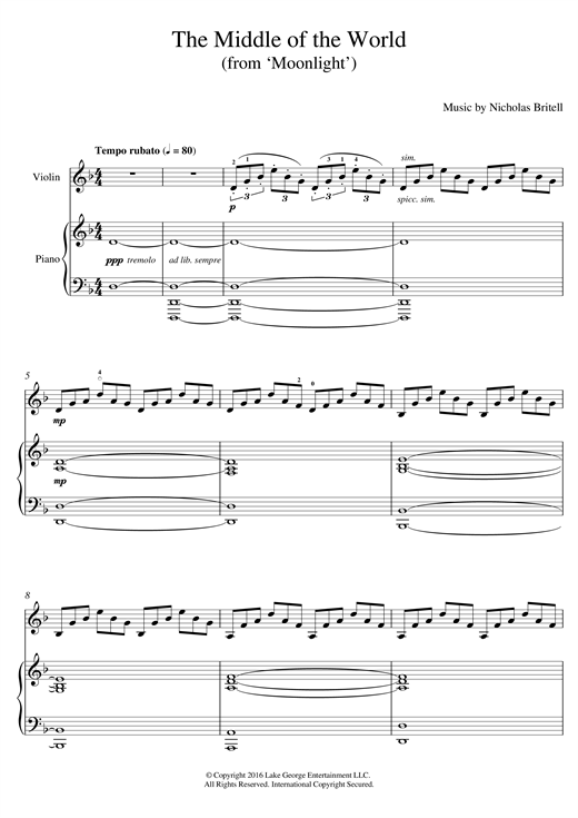 Download Nicholas Britell 'The Middle Of The World (from 'Moonlight')' Digital Sheet Music Notes & Chords and start playing in minutes
