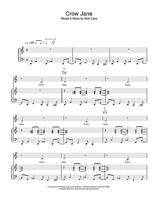 Nick Cave Crow Jane sheet music notes and chords