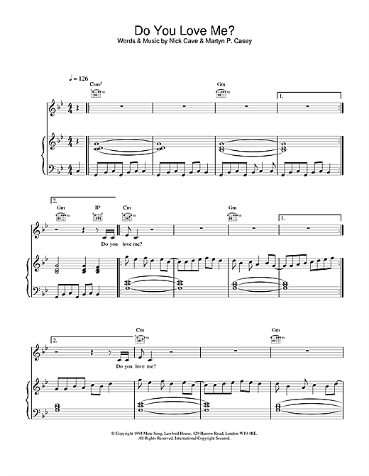 Nick Cave Do You Love Me? sheet music notes and chords