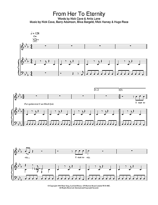 Nick Cave From Her To Eternity sheet music notes and chords