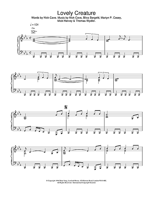 Nick Cave Lovely Creature sheet music notes and chords