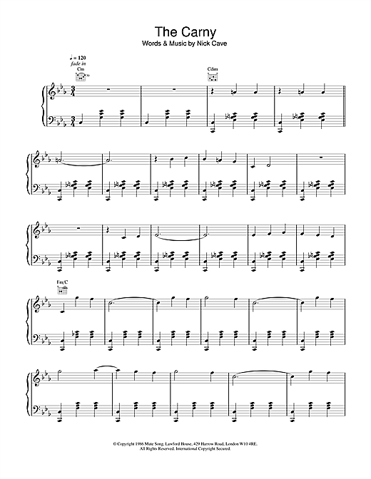 Nick Cave The Carney sheet music notes and chords