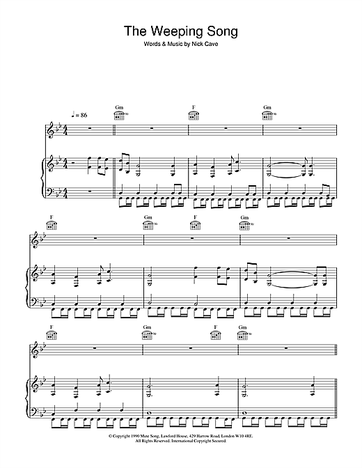 Nick Cave The Weeping Song sheet music notes and chords
