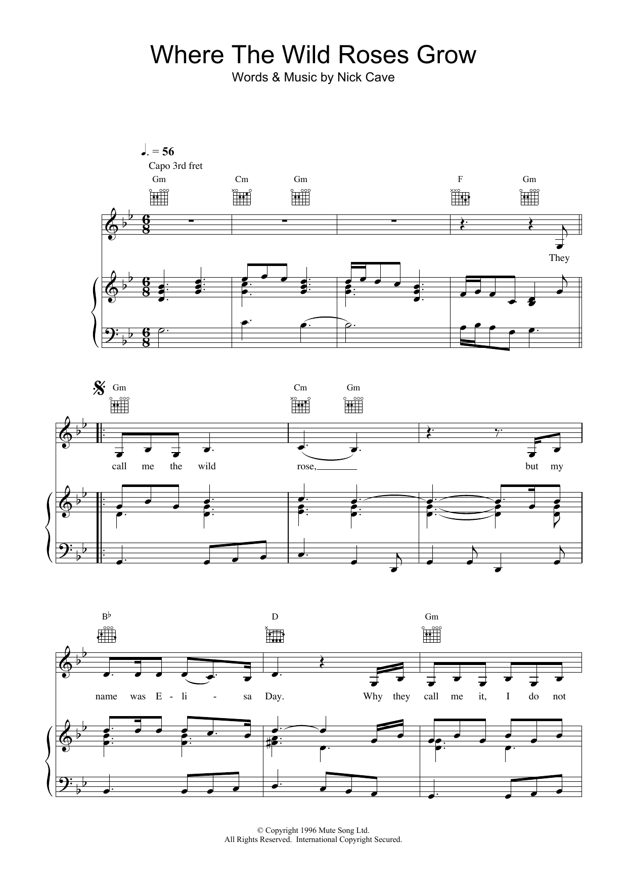 Nick Cave Where The Wild Roses Grow sheet music preview music notes and score for Melody Line, Lyrics & Chords including 2 page(s)
