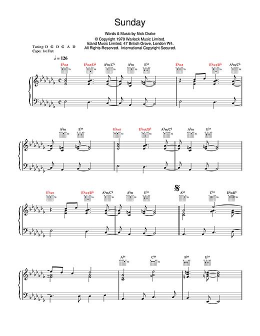 Download Nick Drake 'Sunday' Digital Sheet Music Notes & Chords and start playing in minutes