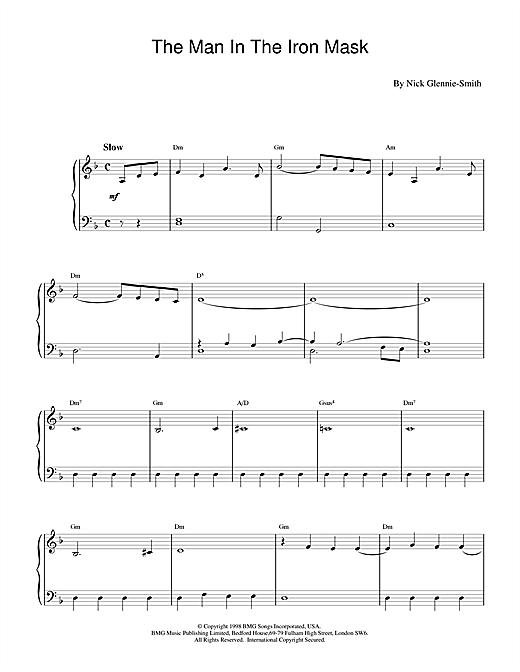 Nick Glennie-Smith The Man In The Iron Mask sheet music notes and chords