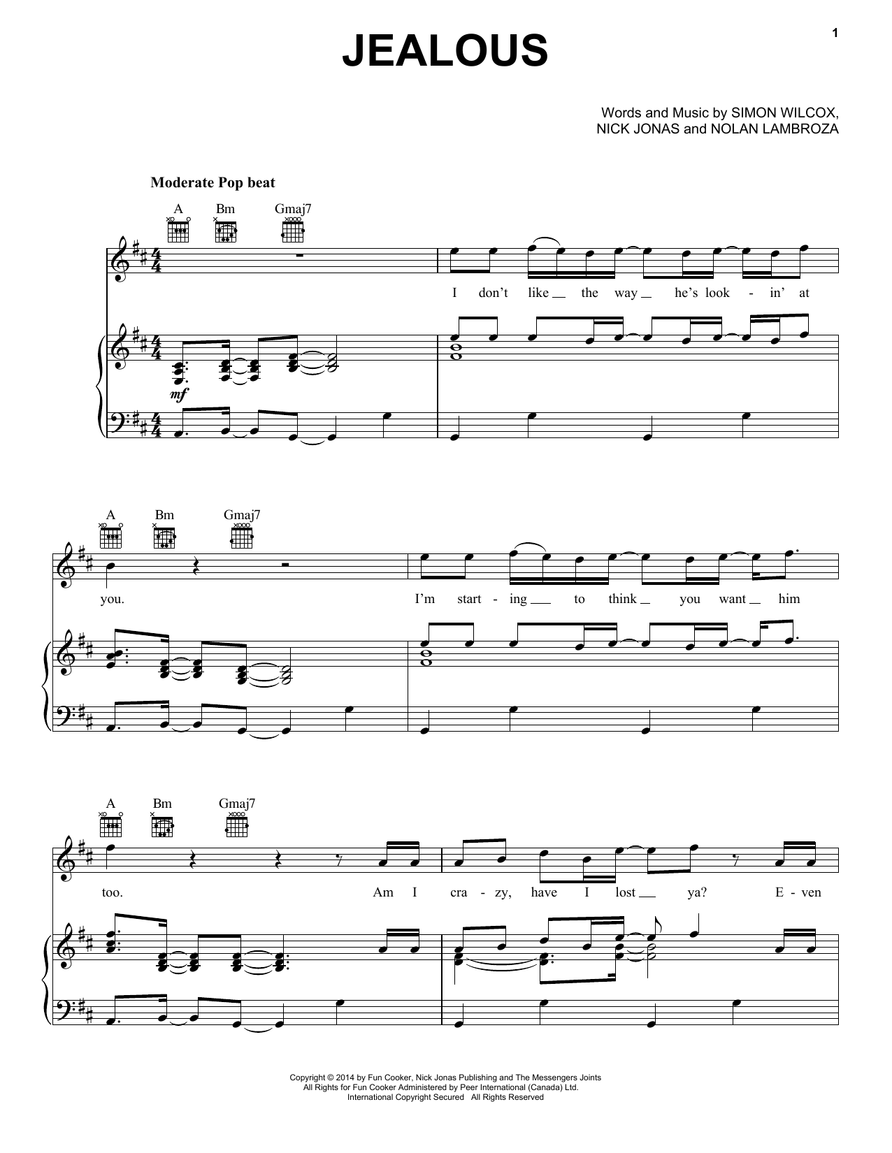 Nick Jonas Jealous Sheet Music Notes Download Pdf Pop Score Piano Vocal Guitar Right Hand Melody