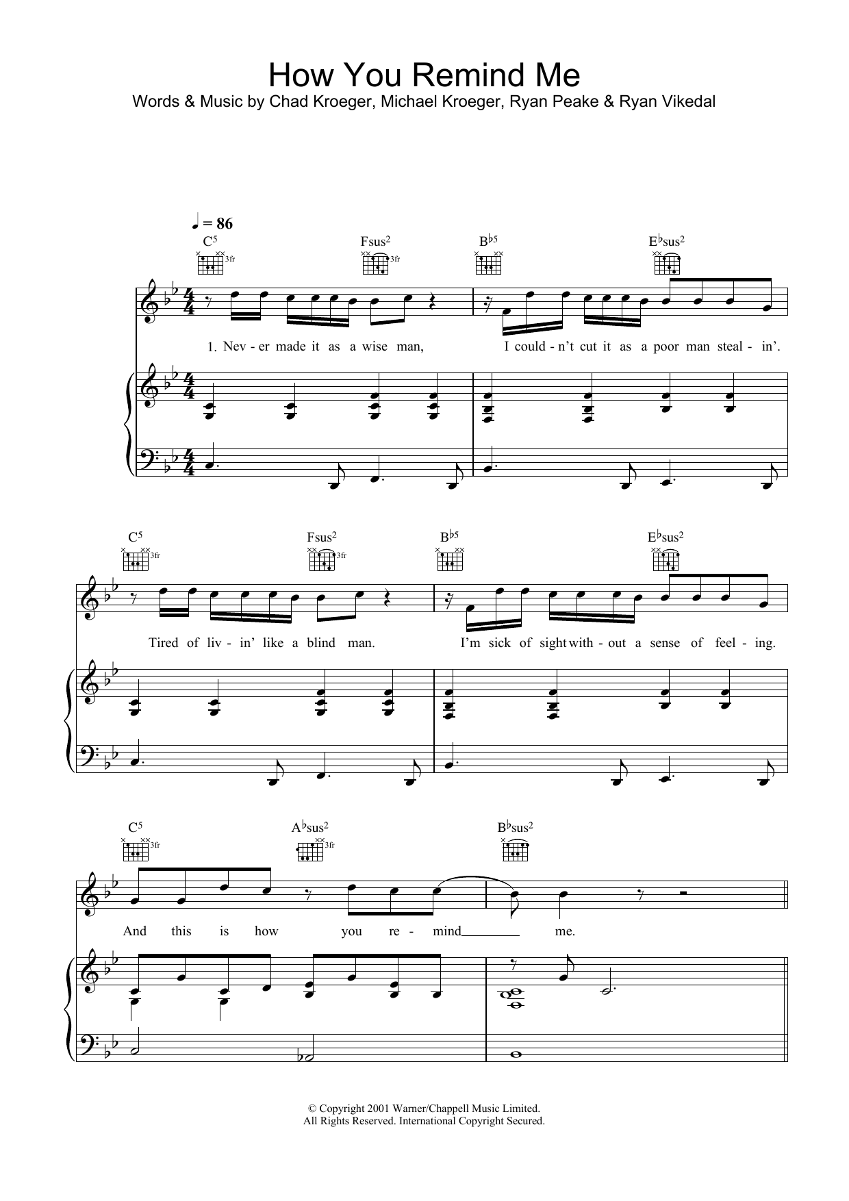 Nickelback How You Remind Me sheet music preview music notes and score for Piano, Vocal & Guitar including 6 page(s)
