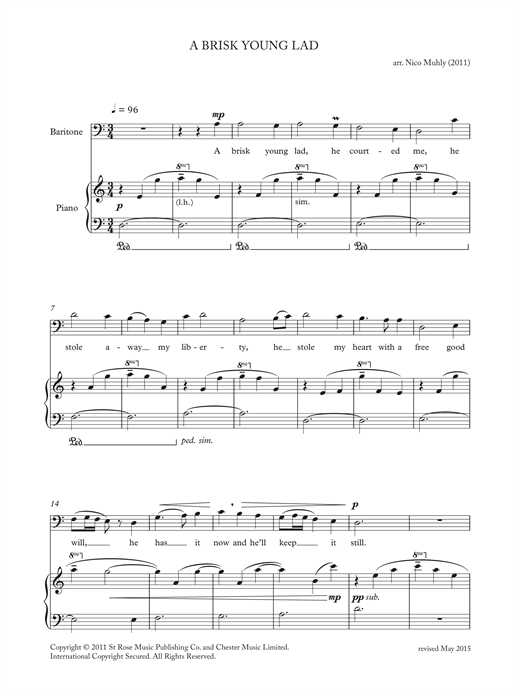 Download Nico Muhly 'A Brisk Young Lad (from 'Four Traditional Songs')' Digital Sheet Music Notes & Chords and start playing in minutes