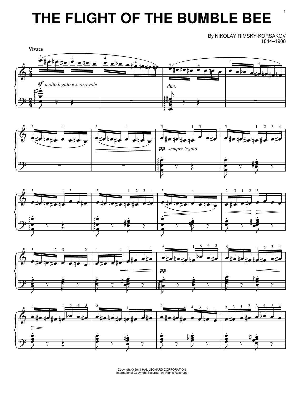 Download Nicolai Rimsky-Korsakov 'The Flight Of The Bumble Bee' Digital Sheet Music Notes & Chords and start playing in minutes